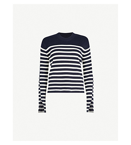 ZADIG & VOLTAIRE Delly striped wool and cashmere-blend jumper (Blue