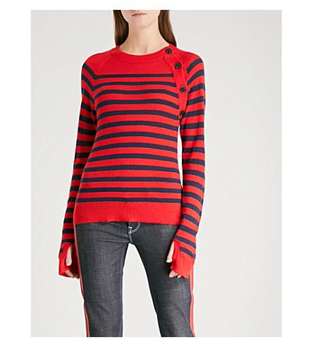 ZADIG & VOLTAIRE Reglis striped cashmere jumper (Red