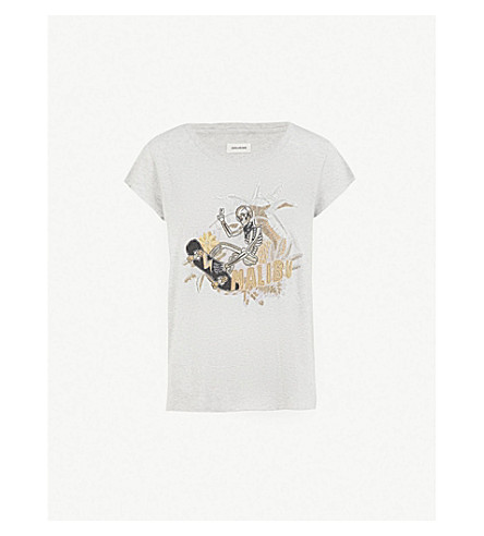 ZADIG & VOLTAIRE Meryl skeleton-print cotton-blend T-shirt (Grey