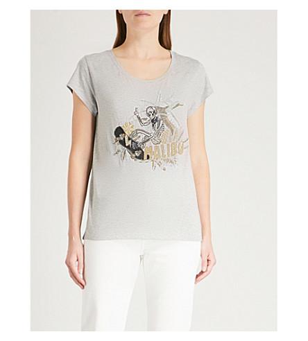 ZADIG & VOLTAIRE Meryl skeleton-print cotton-blend T-shirt (Grey