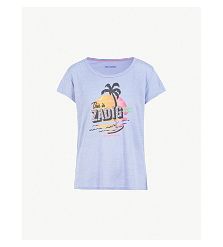 ZADIG&VOLTAIRE Malibu logo-print linen T-shirt (Blue