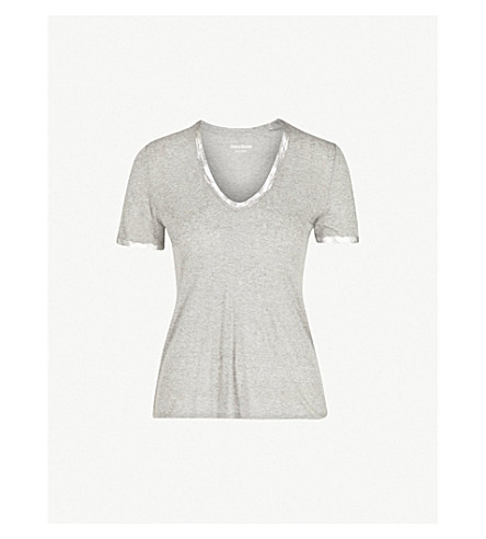ZADIG & VOLTAIRE Tino foil-trim jersey T-shirt (Grey