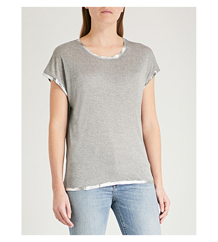 ZADIG & VOLTAIRE Margaret Foil jersey T-shirt (Grey