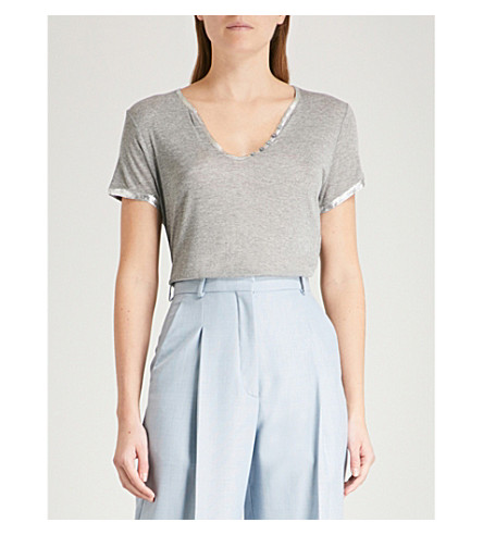ZADIG & VOLTAIRE Tunisien foil-trim jersey T-shirt (Grey