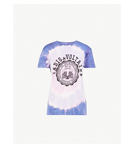 ZADIG & VOLTAIRE Tie-dye cotton-jersey printed T-shirt (Pink