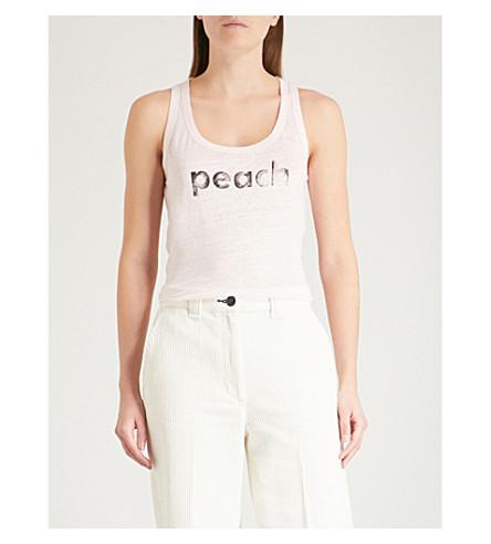 ZADIG & VOLTAIRE Deep slogan-print linen tank top (Pale+pink