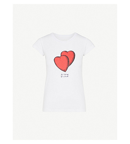 ZADIG & VOLTAIRE Skinny Heart cotton-blend T-shirt (White