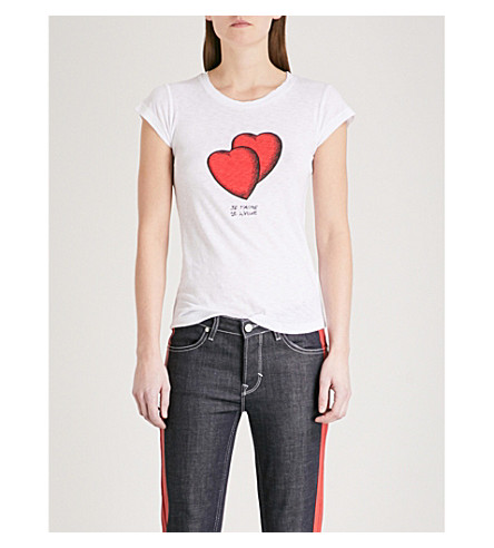 ZADIG & VOLTAIRE Skinny Heart cotton-blend T-shirt (White
