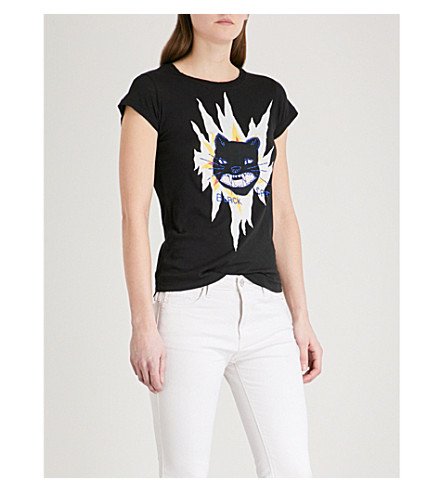 ZADIG & VOLTAIRE Skinny cat-embroidered cotton-blend T-shirt (Black