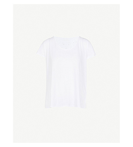 ZADIG & VOLTAIRE Broderie anglaise skull-detail cotton-jersey T-shirt (White