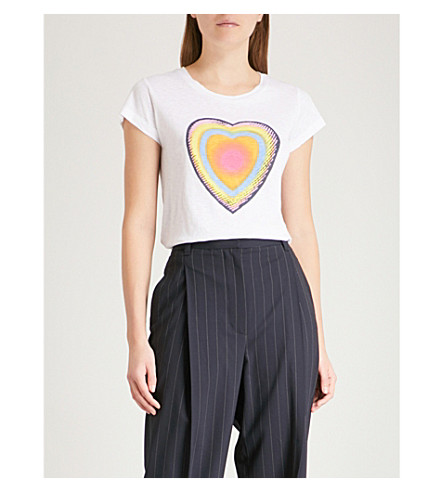 ZADIG & VOLTAIRE Skinny Disco heart-print cotton-jersey T-shirt (White