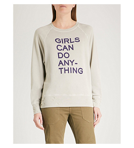 ZADIG & VOLTAIRE Upper slogan-print cotton-blend sweatshirt (Grey