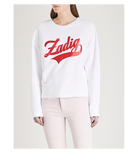 ZADIG & VOLTAIRE Upper foiled logo-detail cotton-jersey sweatshirt (White