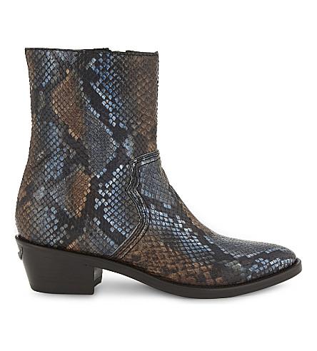 ZADIG & VOLTAIRE Pilar Wild textured leather boots (Bleu
