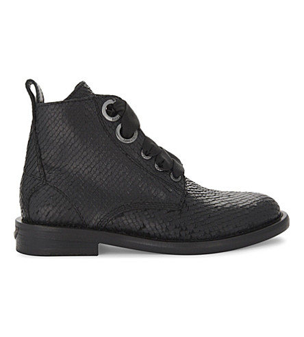 ZADIG & VOLTAIRE Laureen Keith snakeskin-embossed leather ankle boots (Noir