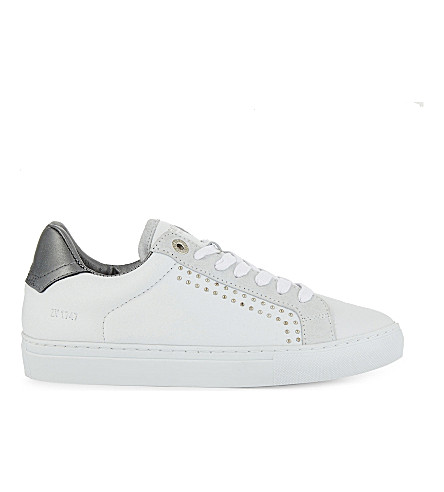 ZADIG & VOLTAIRE Zv1747 studded leather trainers (Blanc