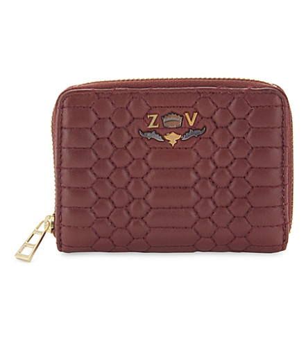 ZADIG & VOLTAIRE Mini ZV Scales leather wallet (Grenat