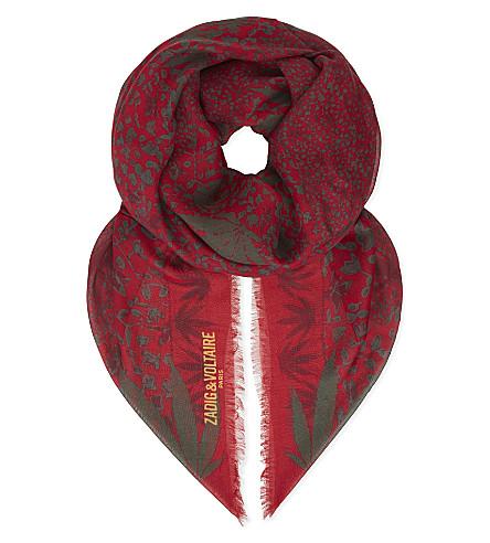 ZADIG & VOLTAIRE Kerry Eden print scarf (Rouge