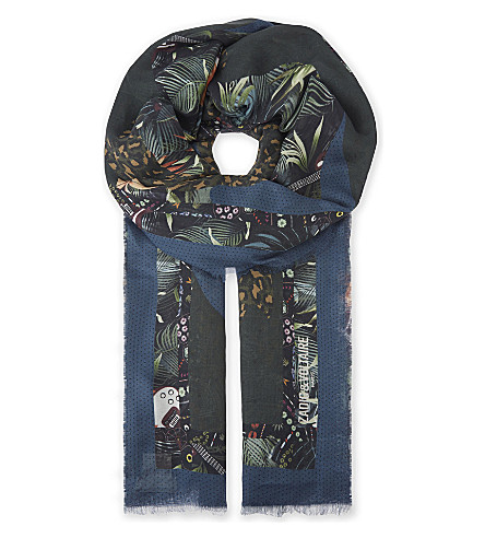 ZADIG & VOLTAIRE Maxy Patchwork jungle print scarf (Bouteille