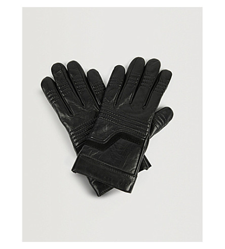 ZADIG & VOLTAIRE Ella suede-panelled leather gloves (Noir