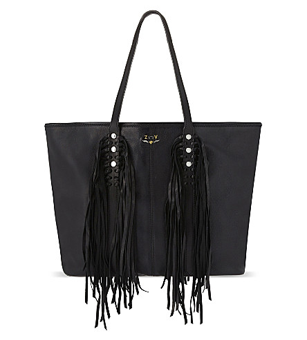 ZADIG & VOLTAIRE Fringed leather tote (Beige