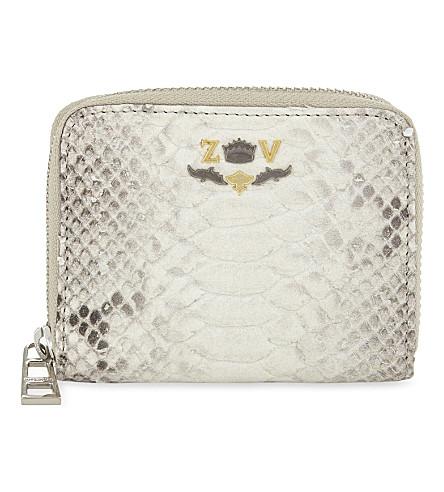 ZADIG & VOLTAIRE Savage snakeskin-embossed leather wallet (Beige