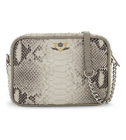 ZADIG & VOLTAIRE Savage extra-small snake-embossed leather cross-body bag (Noir