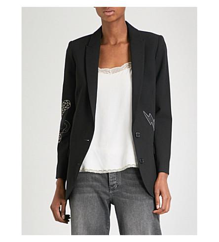 ZADIG & VOLTAIRE Viva embellished crepe blazer (Noir