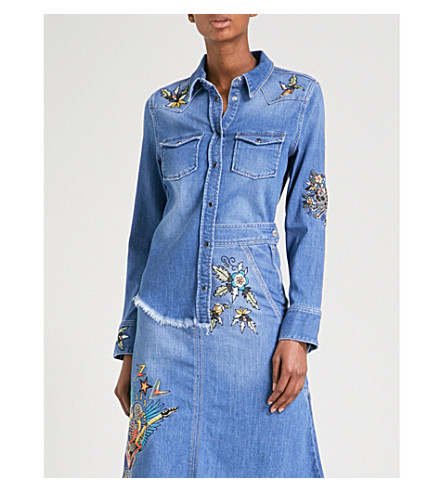 ZADIG & VOLTAIRE Thelma Deluxe embroidered stretch-denim shirt (Bleu