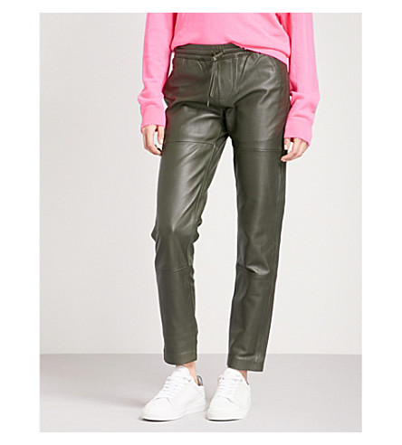 ZADIG & VOLTAIRE Parone straight mid-rise leather trousers (Kaki