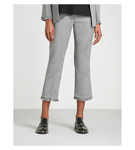 ZADIG & VOLTAIRE Posh Frange cropped high-rise woven trousers (Gris