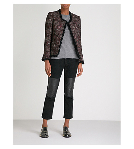 ZADIG & VOLTAIRE Volia fringed tweed jacket (Rouge