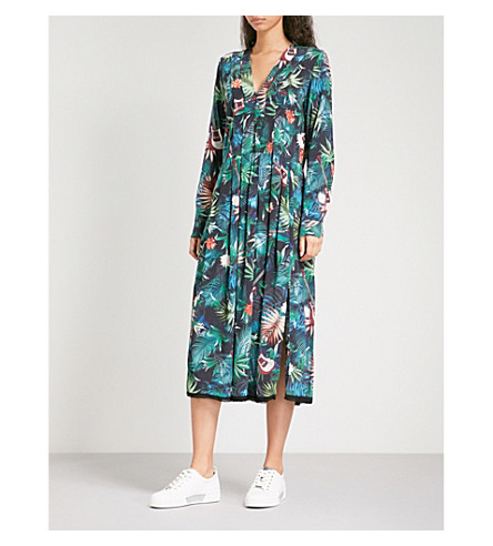ZADIG & VOLTAIRE Roux jungle-pattern V-neck dress (Bouteille