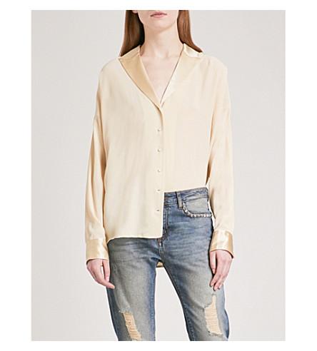 ZADIG & VOLTAIRE Timothee Deluxe silk-crepe de chine and silk-satin shirt (Ecru