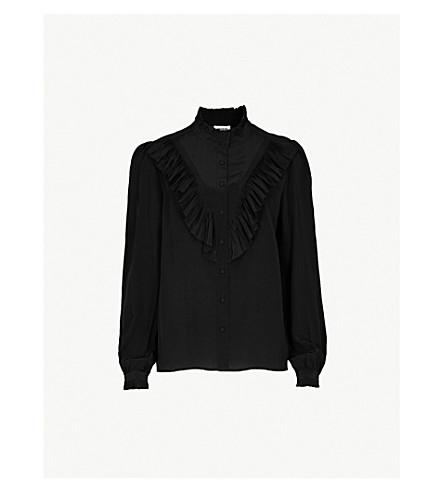 ZADIG & VOLTAIRE Taccora ruffled silk-crepe de chine shirt (Noir
