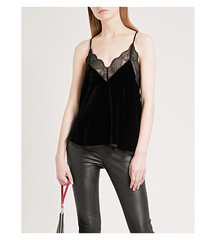 ZADIG & VOLTAIRE Christy Deluxe sleeveless velvet top (Noir