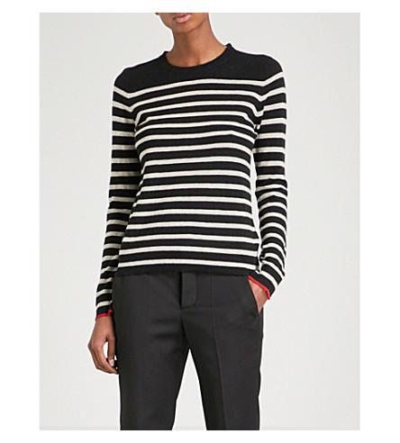 ZADIG & VOLTAIRE Miss Stripes cashmere jumper (Noir