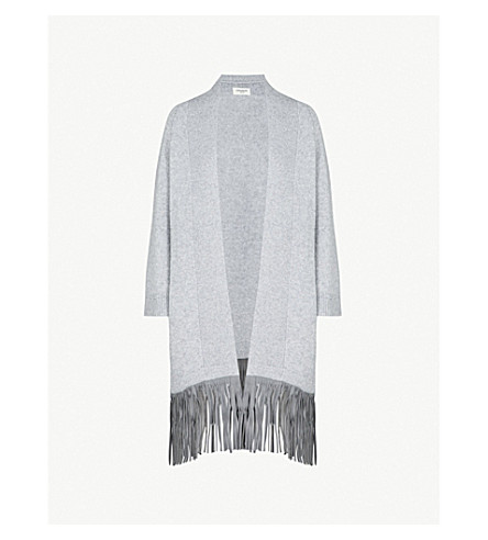 ZADIG & VOLTAIRE Paloma Deluxe cashmere and leather cardigan (Gris+chine+clair