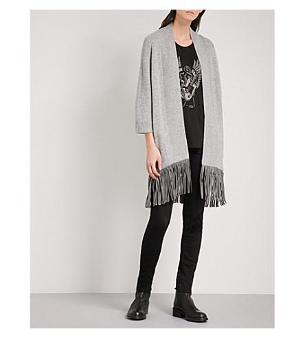 ZADIG & 伏尔泰帕洛玛豪华羊绒和皮革开衫 (灰 + 克莱尔