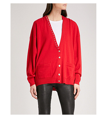 ZADIG & VOLTAIRE Scarlett stud-detail wool and cashmere-blend cardigan (Rouge
