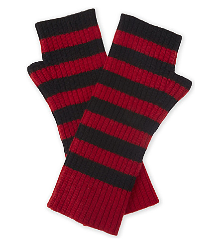 ZADIG & VOLTAIRE Diana striped cashmere mittens (Rouge