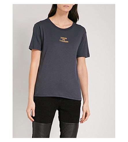 ZADIG & VOLTAIRE Ellis foiled text-print cotton T-shirt (Marine