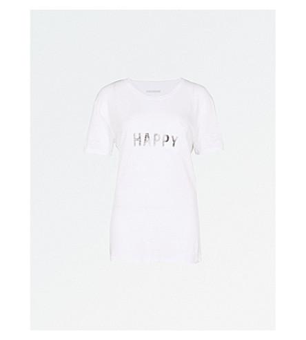 ZADIG & VOLTAIRE Amber logo-print linen T-shirt (Blanc