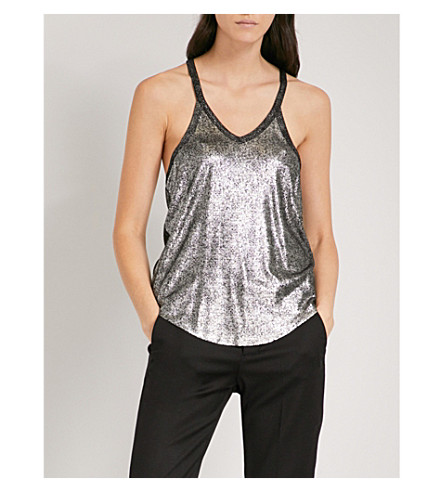 ZADIG & VOLTAIRE Chelsea metallic stretch-knit top (Argent
