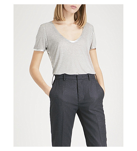 ZADIG & VOLTAIRE Tino foil-trim jersey T-shirt (Gris+chine
