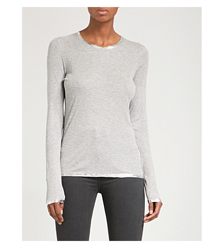 ZADIG & VOLTAIRE Willy Foil jersey top (Gris+chine