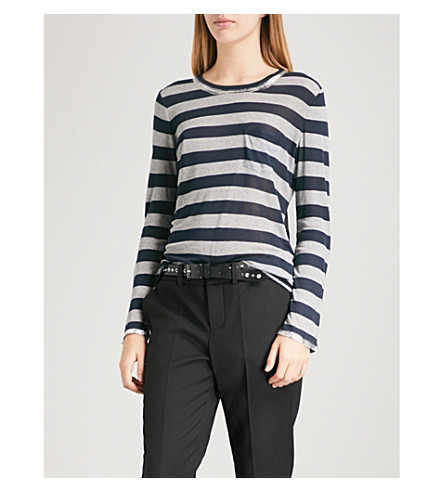 ZADIG & VOLTAIRE Reja metallic-trims striped jersey top (Marine