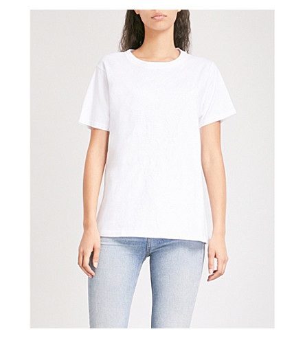 ZADIG & VOLTAIRE Walky Brode embroidered cotton-jersey T-shirt (Blanc