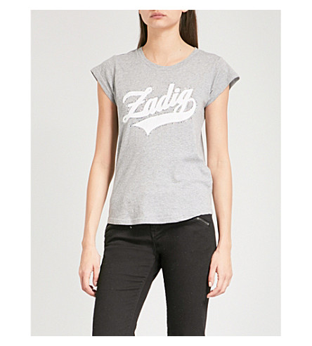ZADIG & VOLTAIRE Skinny Strass logo-print cotton-blend T-shirt (Gris+chine