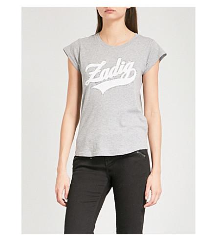 ZADIG & VOLTAIRE 紧身 Strass 标志打印棉混纺 T 恤 (皮诺 +